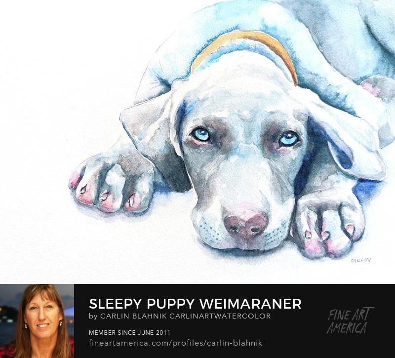 Dog Portrait Watercolor Painting Print by Carlin Blahnik