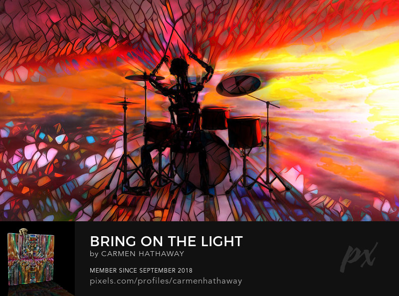 a drummer summoning the light in all its glory sings its all or nothing bring on the light