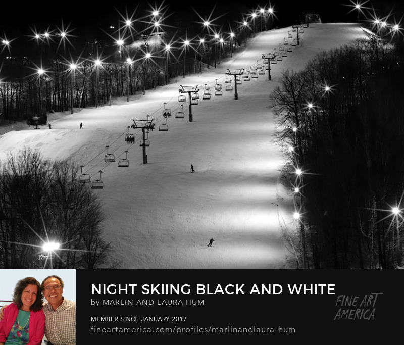 Night Skiing Black and White by Marlin and Laura Hum