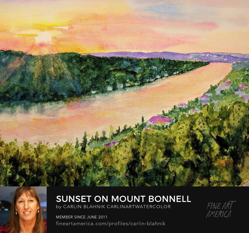 Mount Bonnell Austin TX Watercolor Painting Print by Carlin Blahnik