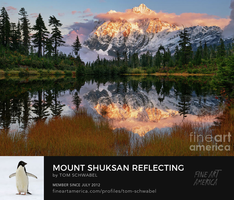 Mount Shuksan Reflecting in Picture Lake at Sunset in Autumn