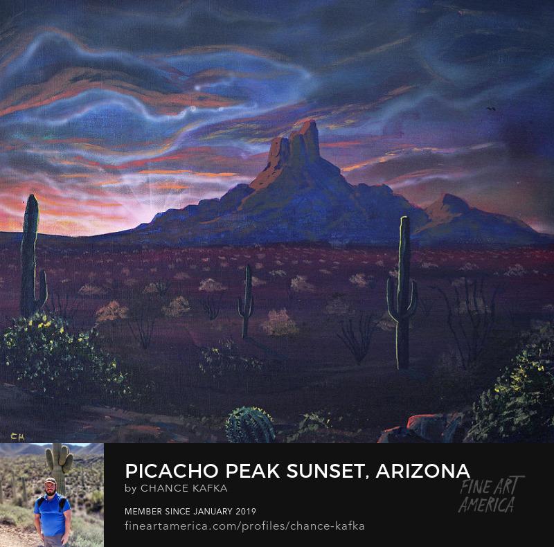 Picacho Peak Arizona Sunset Southwest Landscape Wall Art Painting Prints