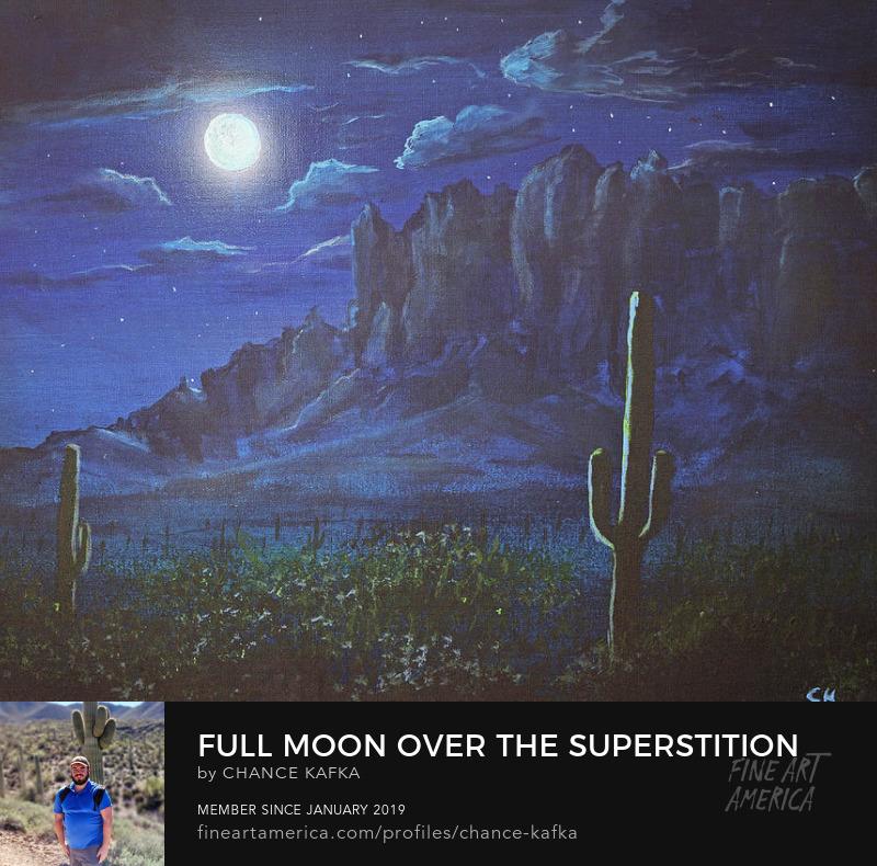 Superstition Mountains Arizona Moon Painting Southwest Landscape Art Prints