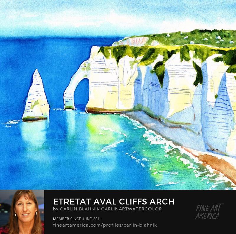 Etretat Cliffs Watercolor Painting Print by Carlin Blahnik