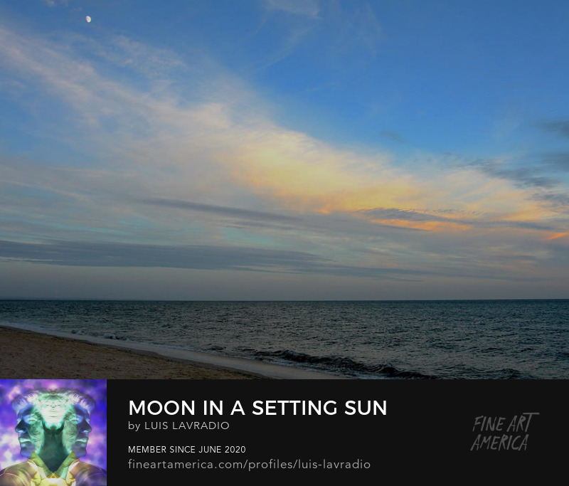 blue sunset with beach and moon by Luis Lavradio