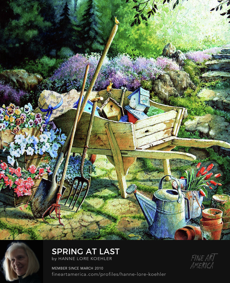 Spring Garden Wooden Wheelbarrow Art Prints