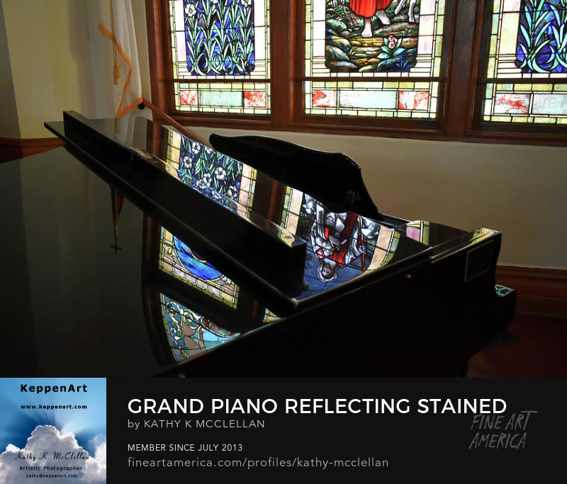 Grand Piano Reflecting Stained Glass Windows by Kathy K. McClellan
