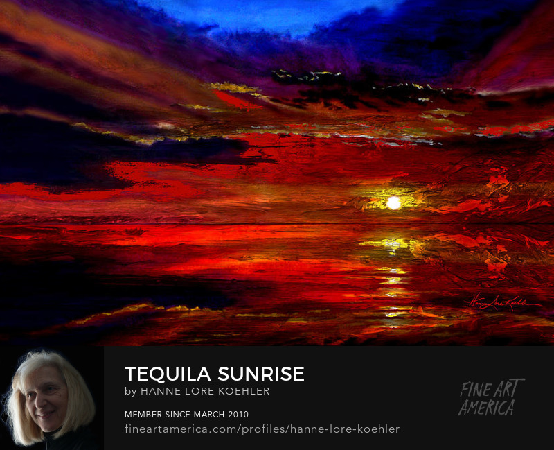 Tequila Sunrise Tropical Ocean Sunset Painting