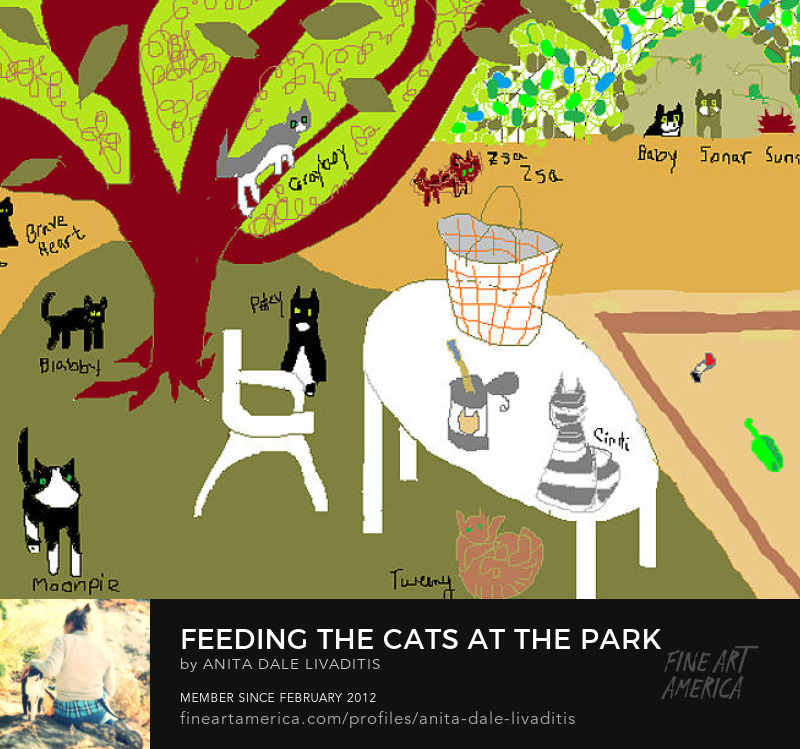 Feeding the Cats at the Park by Anita Dale Livaditis