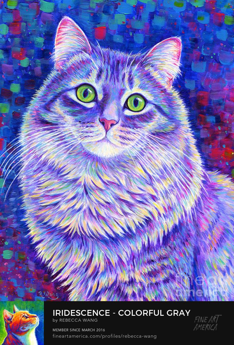 Iridescence - Colorful Gray Tabby Cat Canvas Art