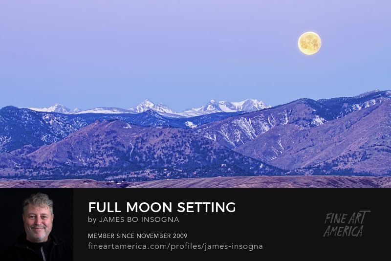 Full Moon Setting Over The Colorado Rocky Mountains Art Prints
