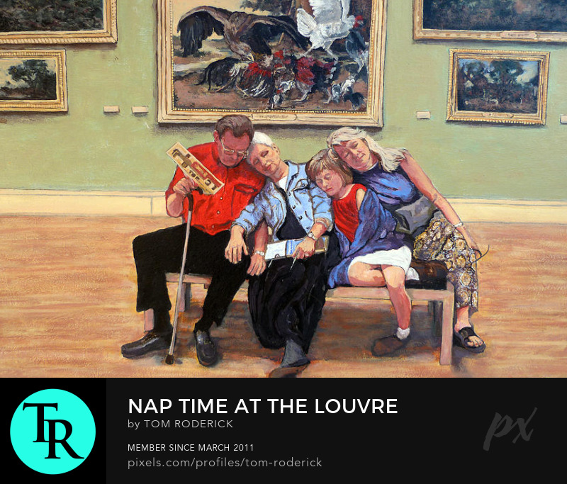 Napping family at the louvre by Boulder artist Tom Roderick