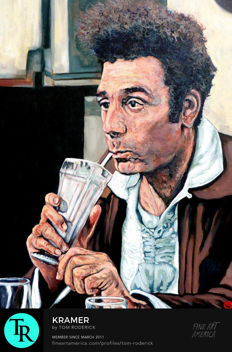 Kramer drinking a milkshake by Boulder artist Tom Roderick