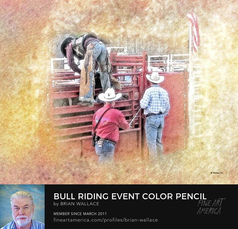 Bull Riding Event Color Pencil FX by Brian Wallace
