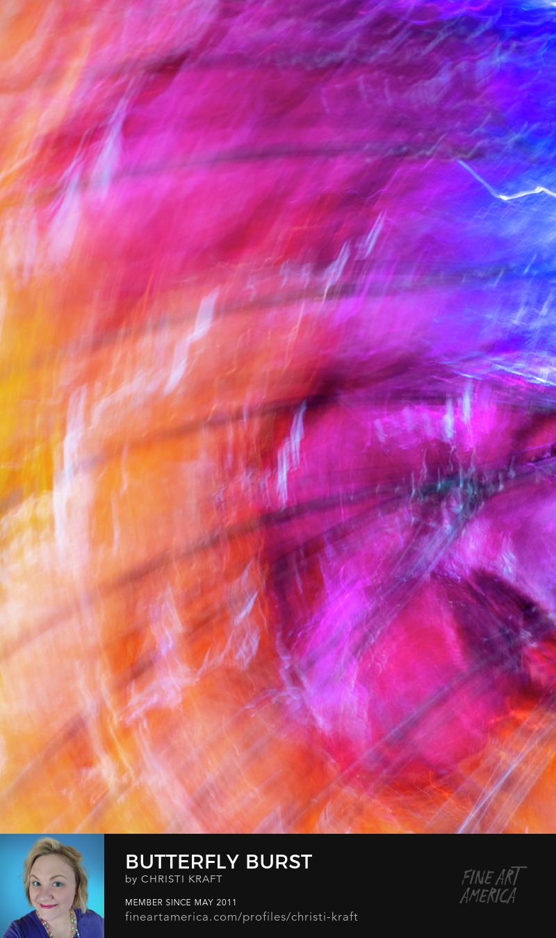 Bright colorful curvy abstract intentional camera movement wall art