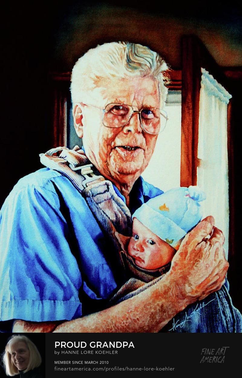 grandfather holding grandchild portrait painting
