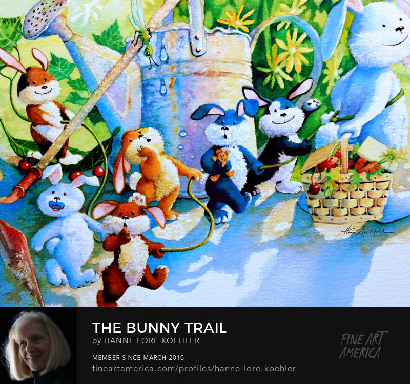 Kids Art Prints of The Bunny Trail