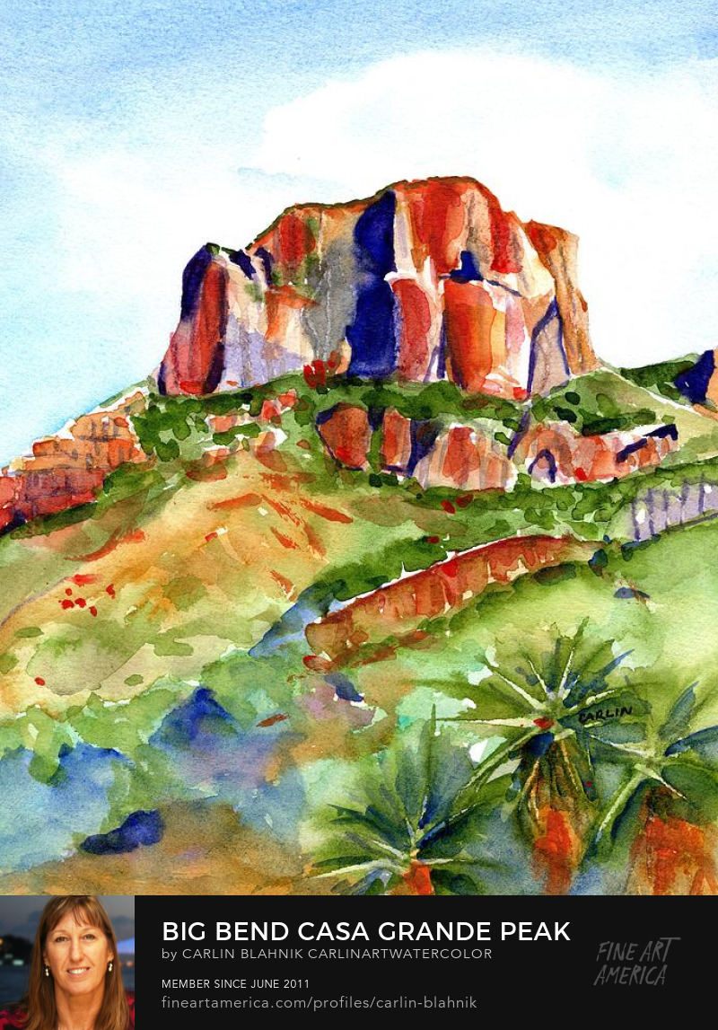 Big Bend Casa Grande Peak Watercolor Painting Print by Carlin Blahnik