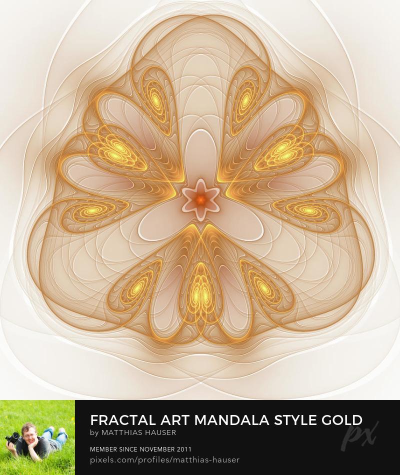 Golden Fractal Art Mandala Style by Matthias Hauser