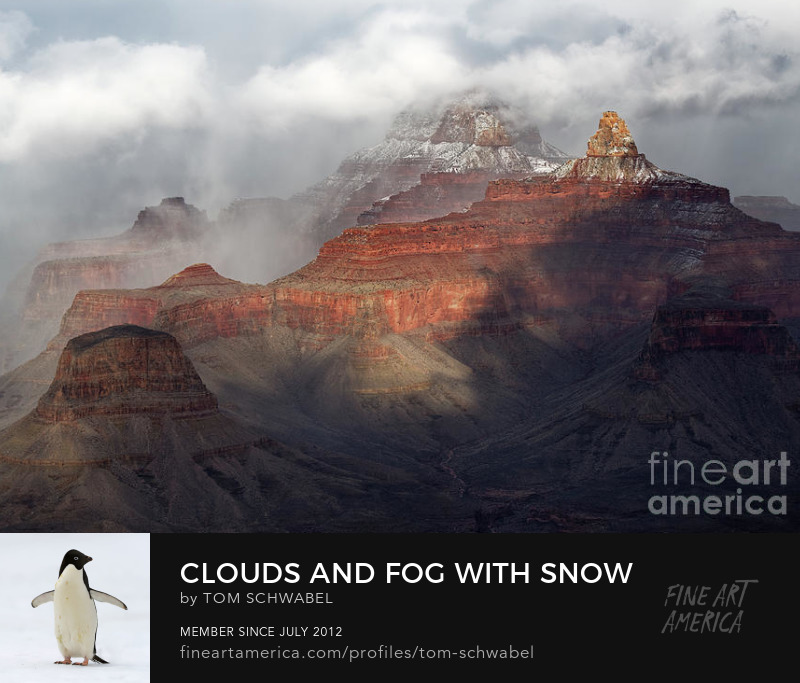 Clouds and Fog with Snow in Winter at Grand Canyon National Park