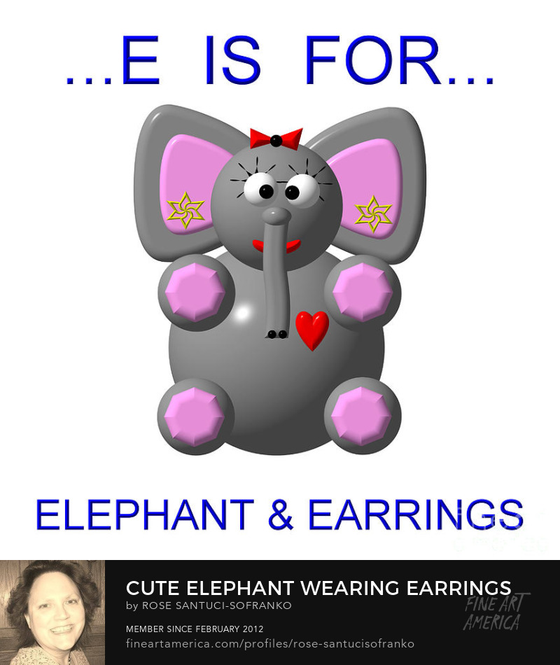 Cute Elephant Wearing Earrings Art Online