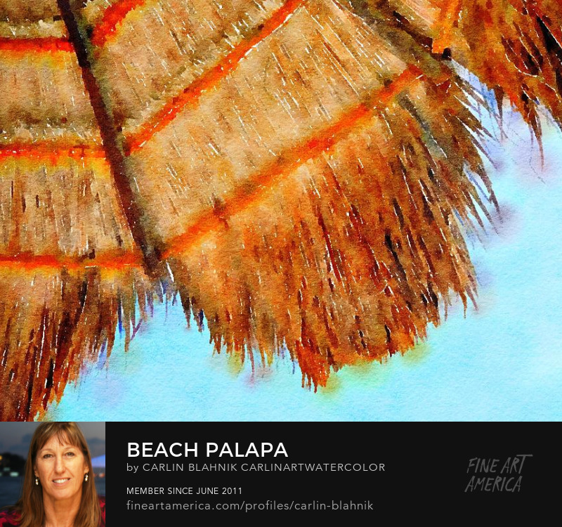 Beach Palapa Roof Digital Watercolor Painting Print by Carlin Blahnik