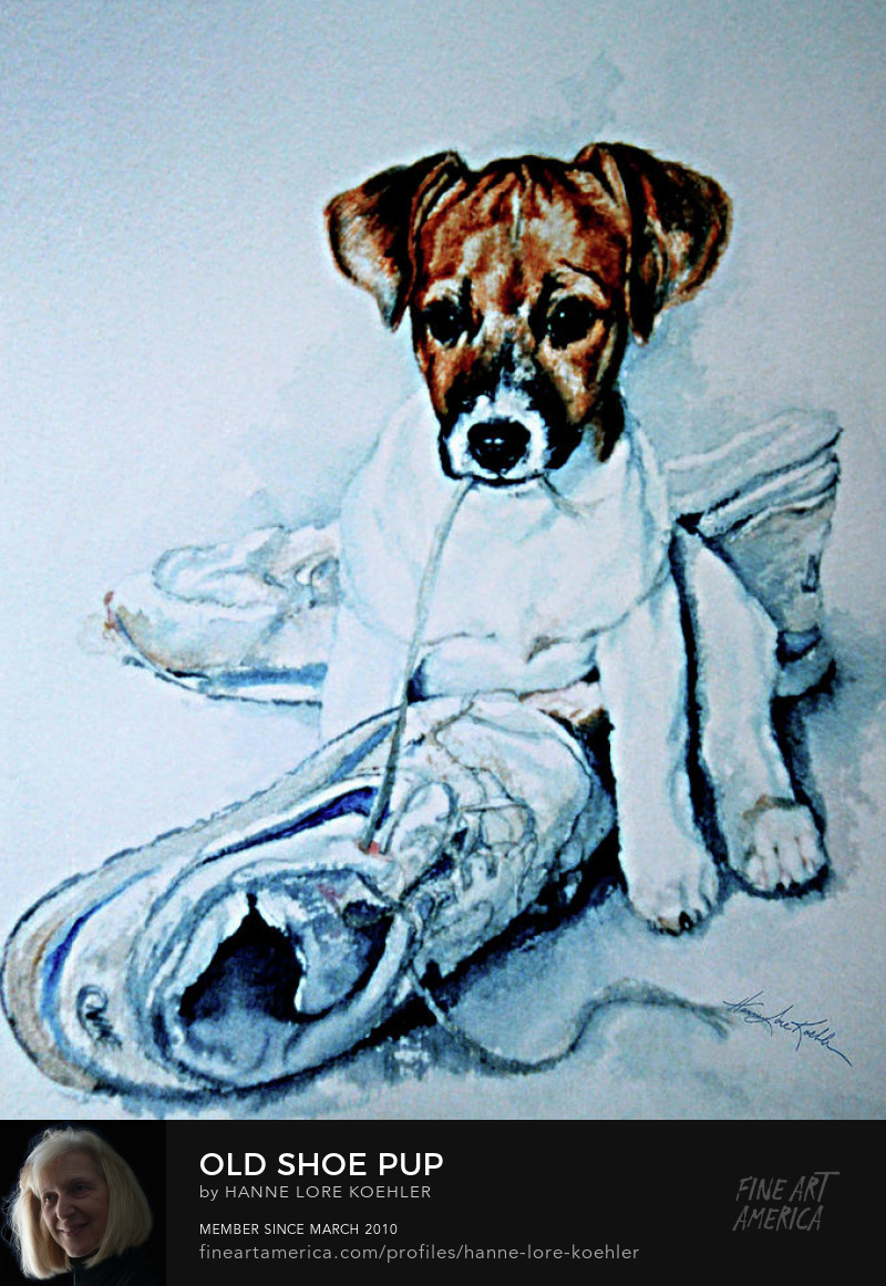 Jack Russell Terrier puppy painting, canvas and art prints