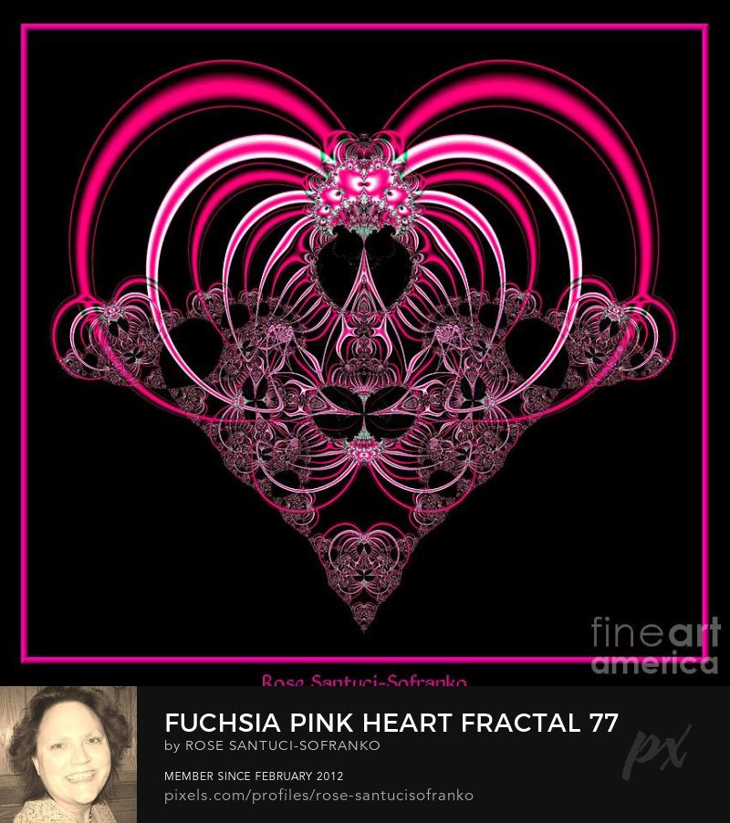 Fuchsia Pink Heart Fractal  Art Online