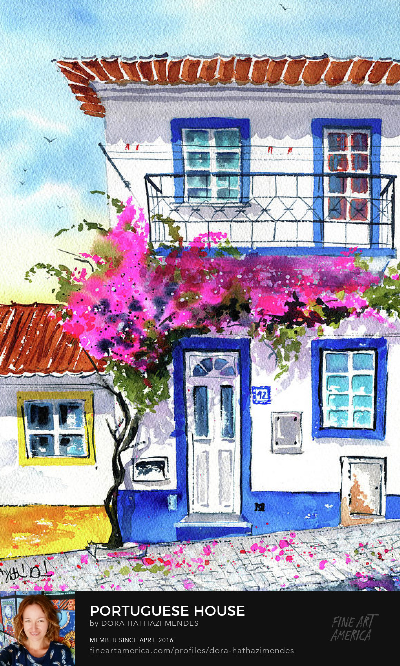 Portuguese house with bougainvillea painting Art Prints