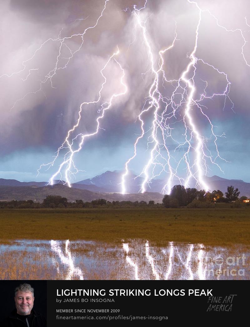 Lightning Striking Longs Peak Foothills 4c Art Prints