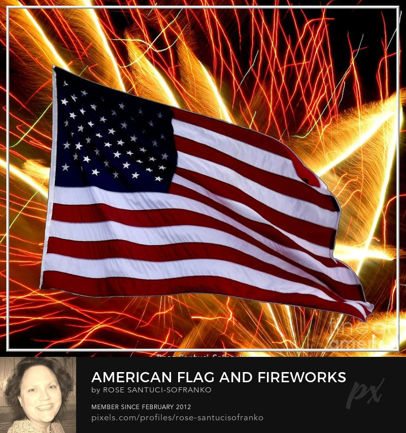 American Flag And Fireworks Photography Prints