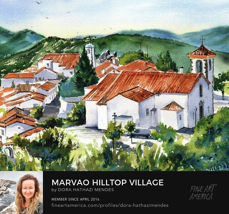 Marvao painting a Hilltop Village in Alentejo Portugal Canvas Art