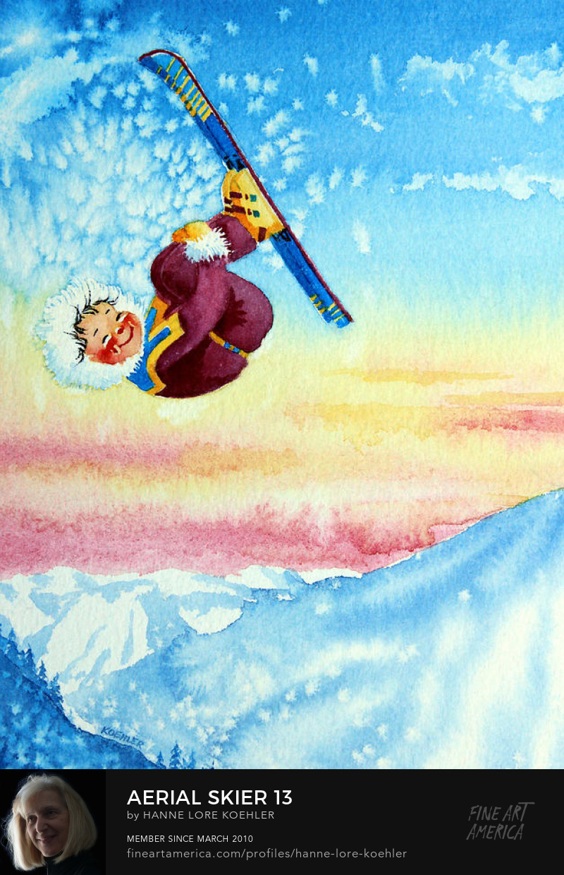 kids ski jumping fantasy art