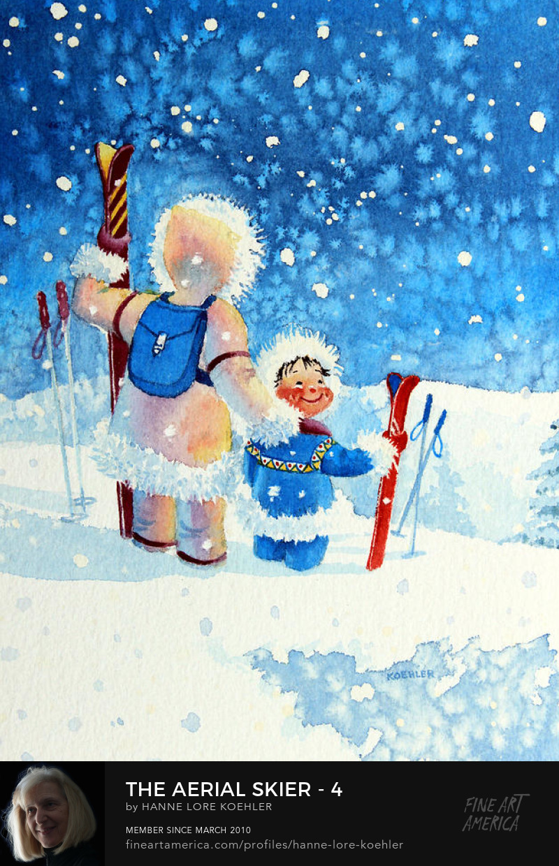 kids skiing painting