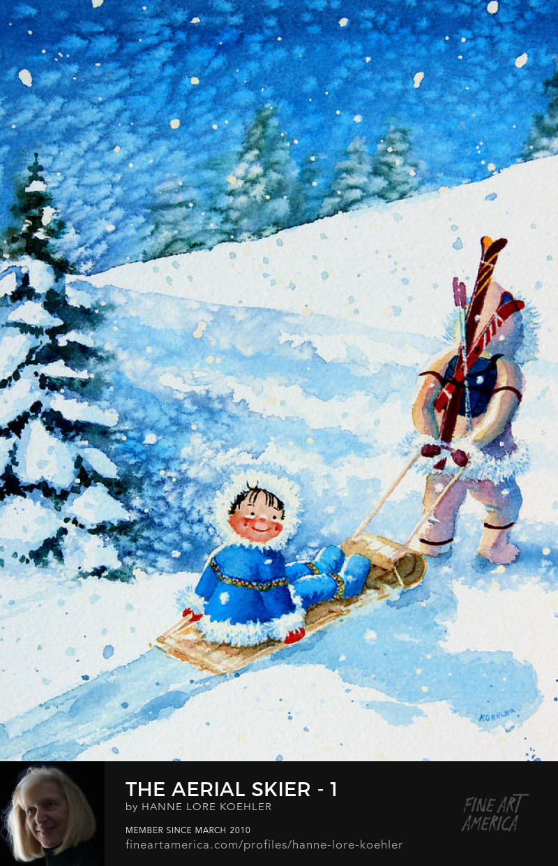 Skiing Art Prints for Kids