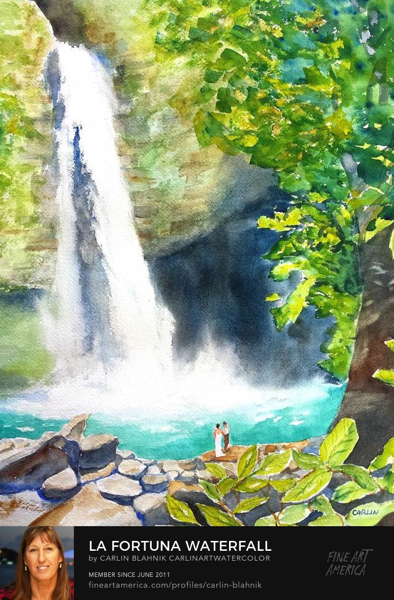 La Fortuna Costa Rica Watercolor Painting Print by Carlin Blahnik