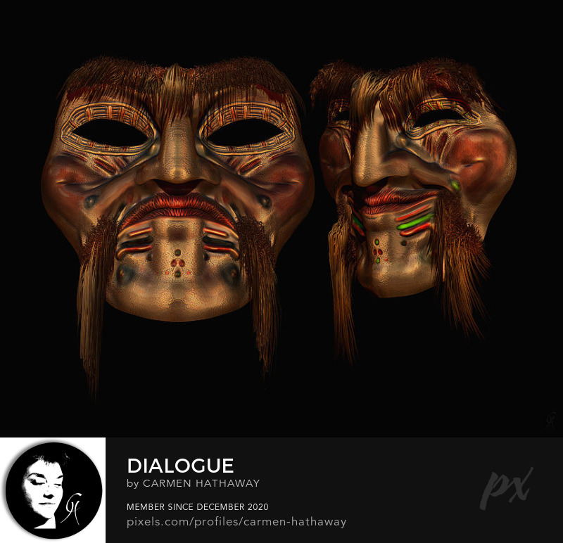 a contemporary view of the tragedy comedy theme in original design 3d digitally modeled indigenous face masks