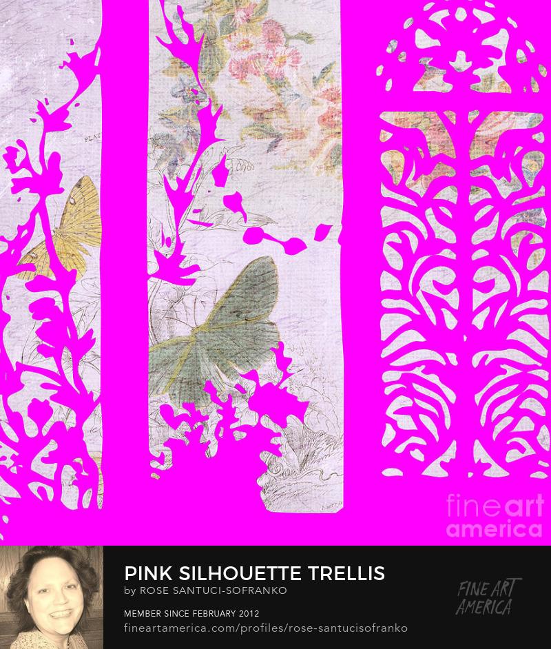Pink Silhouette Trellis Butterflies and Flowers Art