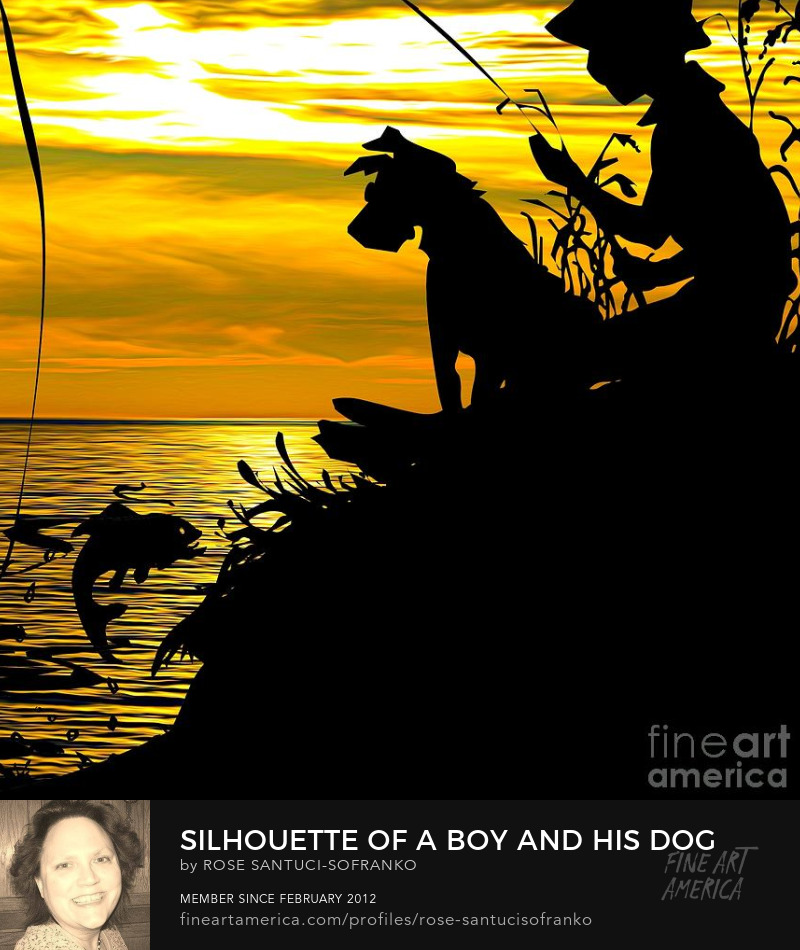 Silhouette of a Boy and His Dog Fishing at Sunset at a Lake