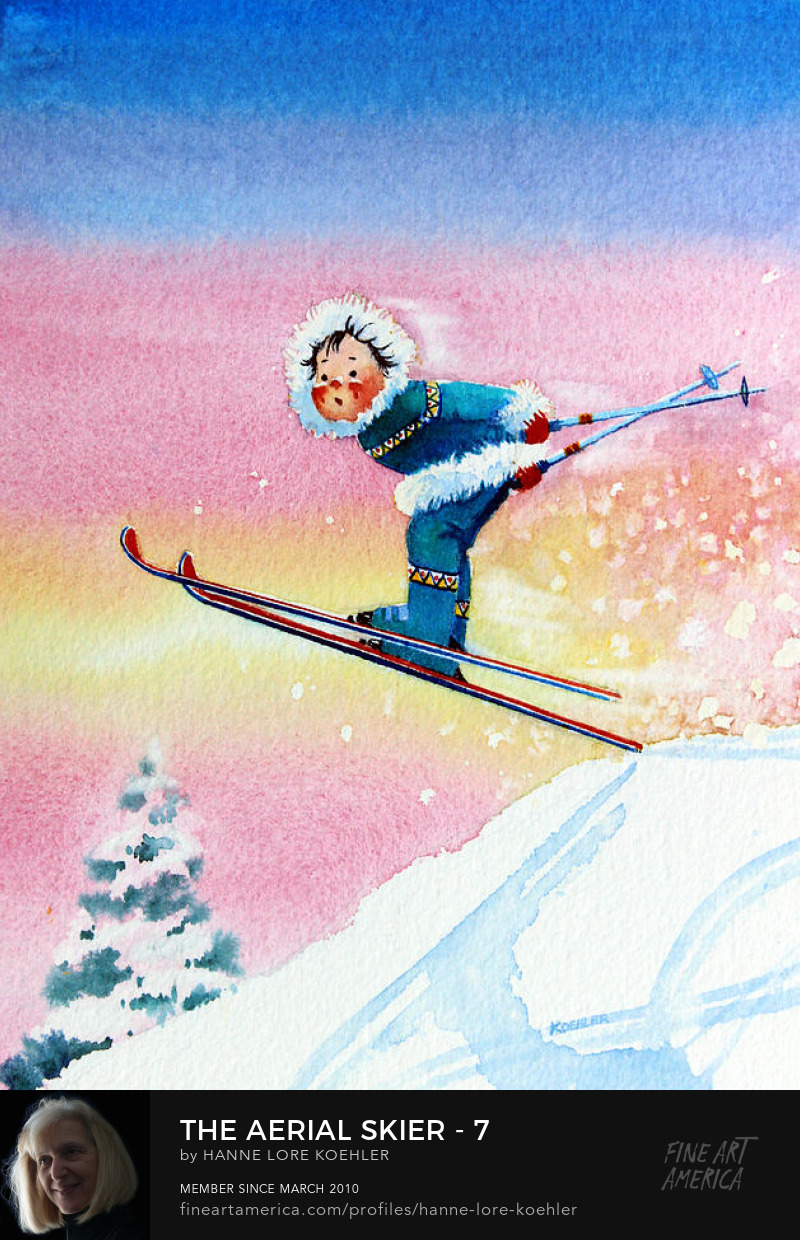 Kids ski Art Prints