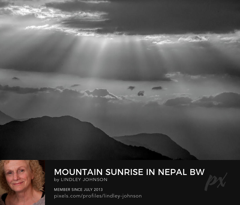 Mountain Sunrise in Nepal BW photograph by Lindley Johnson