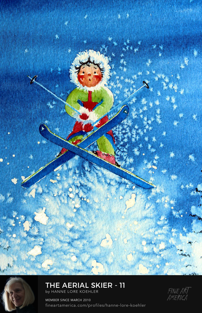 kids skiing Art Prints