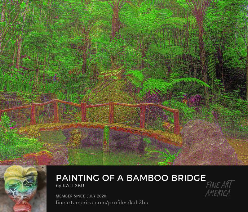 Bamboo bridge pond tropical rainforest Painting style art by kalle3bu