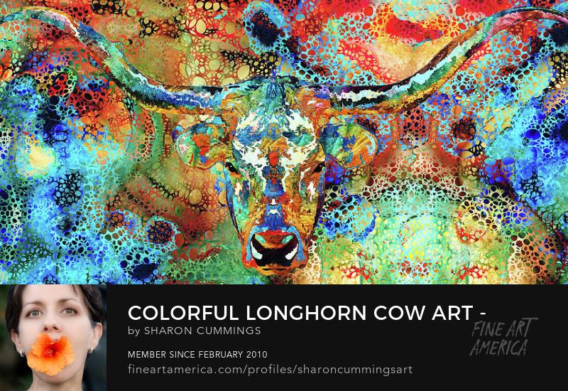 Longhorn Cow Cattle Art