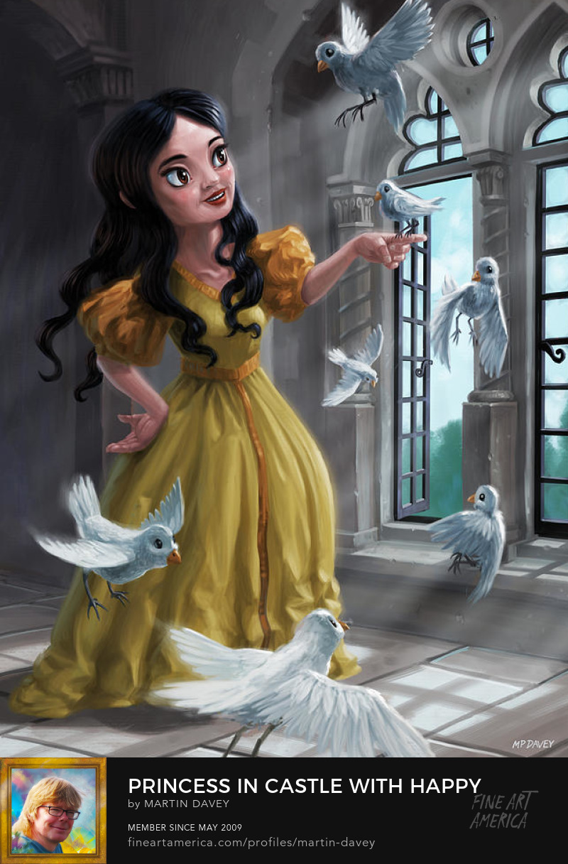 happy princess with birds art