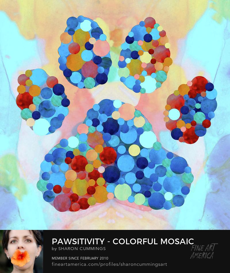 Colorful Dog Paw Wall Art