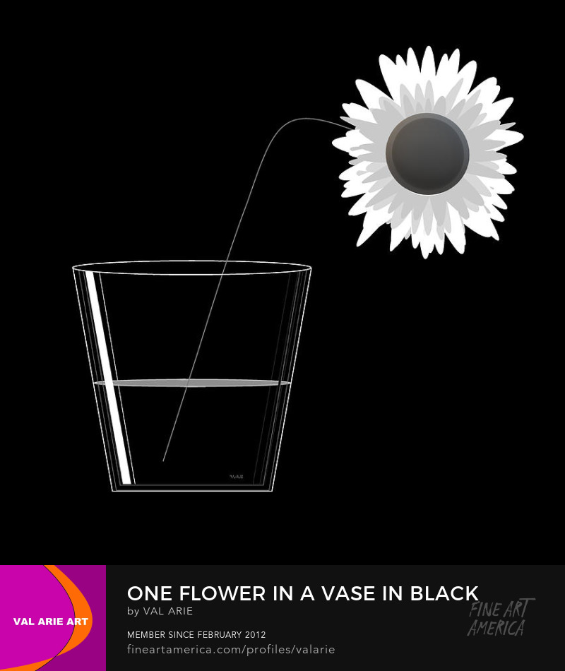 One Flower in a Vase in Black and White by Val Arie