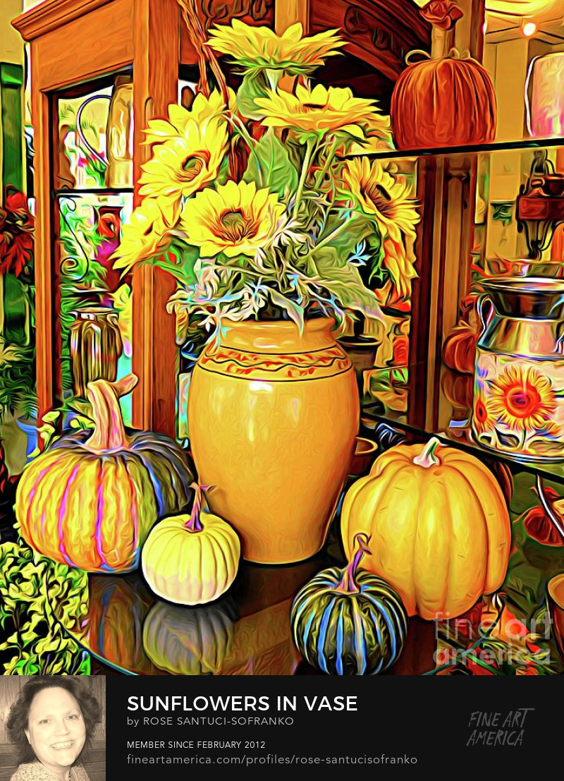 Sunflowers in Vase with Pumpkins Abstract Expressionism Effect Art Prints