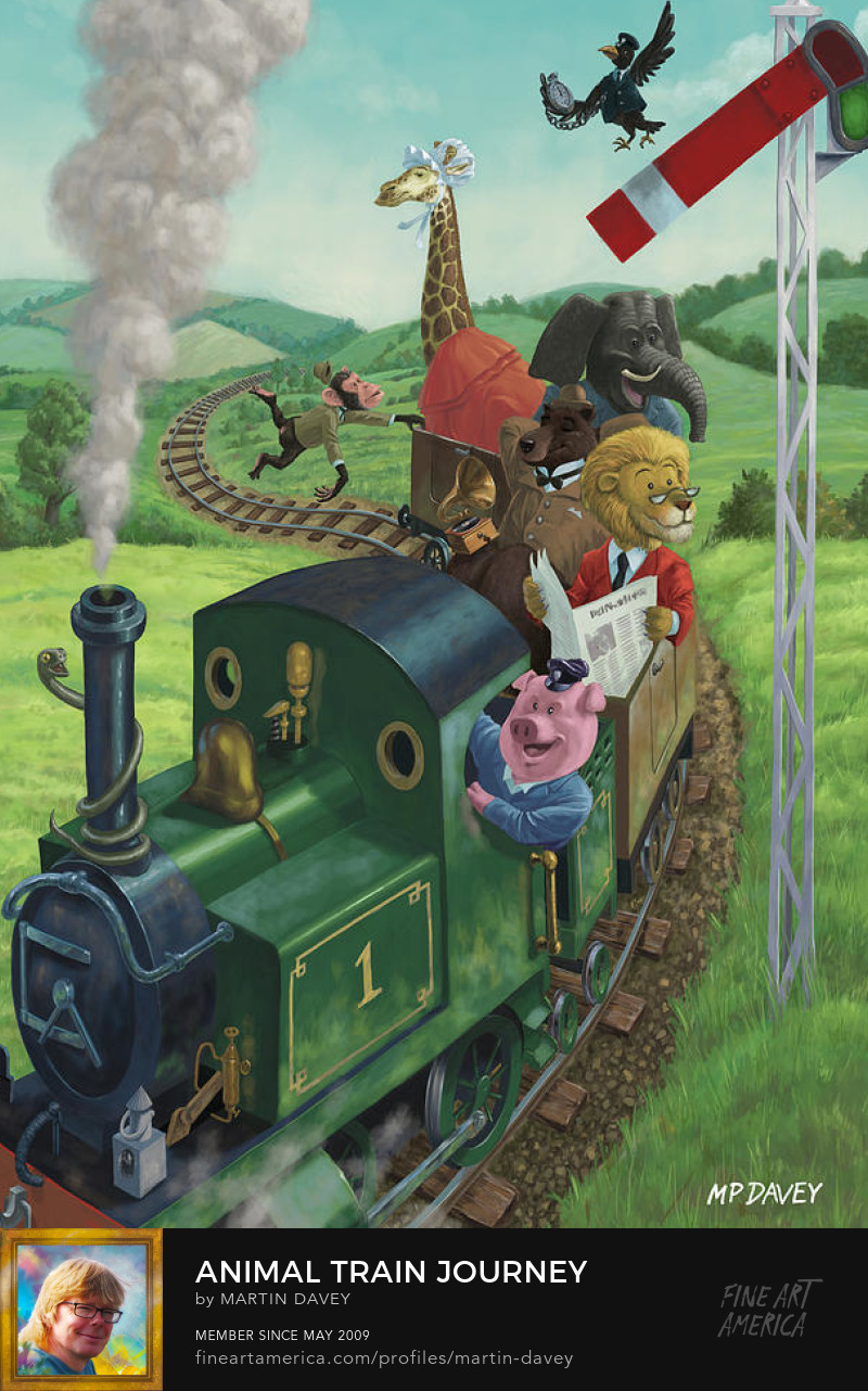 Animal Train Journey-digital painting_m p davey