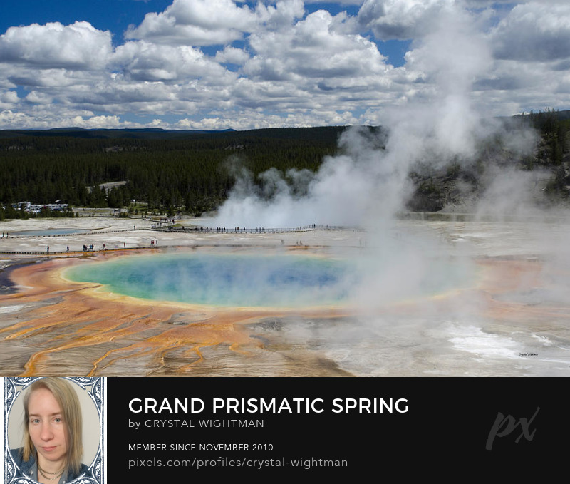 A landscape of Grand Prismatic Spring at Yellowstone National Park.